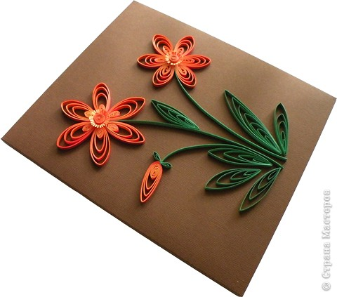 Квиллинг: Трехцветные цветы. фото 2