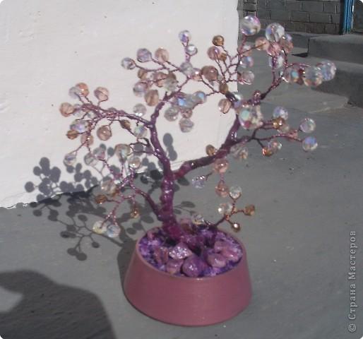Увидев, что я полюбила делать деревья, мои подруги стали тащить мне всякие бусины. Вот и получилось такое деревце из стекляшек. Фото не совсем удачное. Но перефотографировать нельзя, т.к. я его сразу же и подарила.