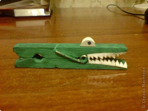 Крокодил из прищепки