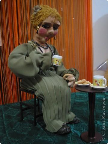 Чаепитие-кукла из чулка.