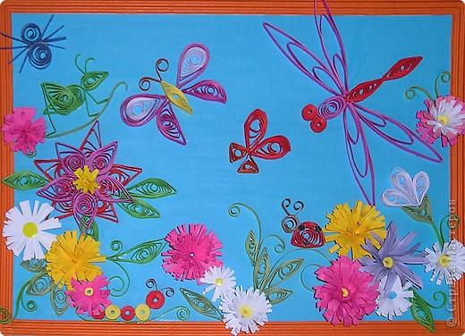 Цветочная полянка (пробовали делать насекомых и цветы-наш первый опыт)