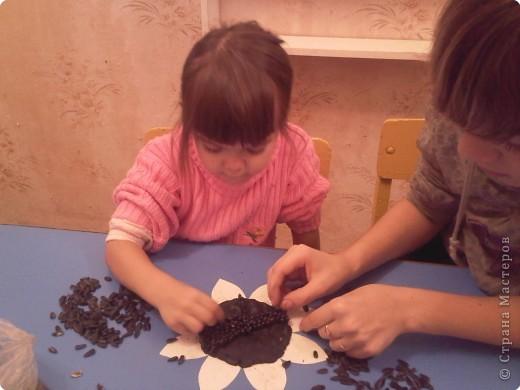 Взяли мы шаблон подсолнуха, налепили кусочками пластилин черного цвета. Получилась толстенькая такая лепешечка. И принялись втыкать семечки вертикально и близко-близко друг ко другу. фото 2