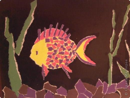 Аппликация обрывная: Рыбка из рваной бумаги