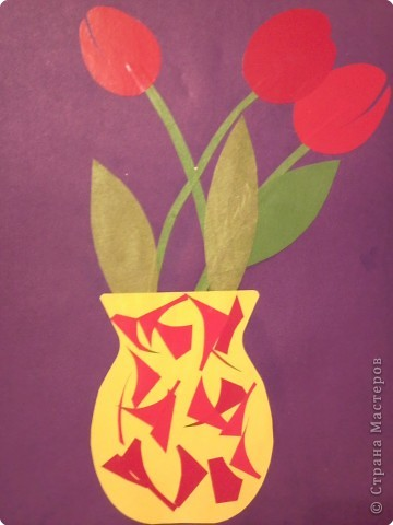 Поделки из цветной бумаги ваза с цветами
