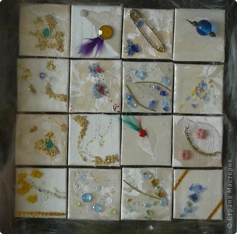"""Для выполнения работ в технике """"Inchies """" пригоден любой материал,который имеется у вас под рукой,я использовала обои,мелкие крупы,булавки,бусинки,битое цветное стекло (бутылки),перья и т.д. фото 2"""