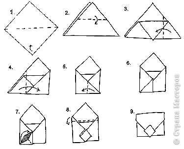 Оригами: Конвертик-кошелечек фото 2