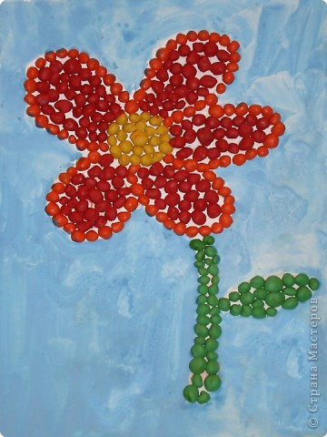 Аппликация из пластилина (+ обратная): Цветок