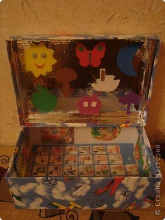 Волшебный сундучок.Материалы:коробка для обуви,самоклеющаяся пленка,резина,иллюстрации к сказкам. фото 1