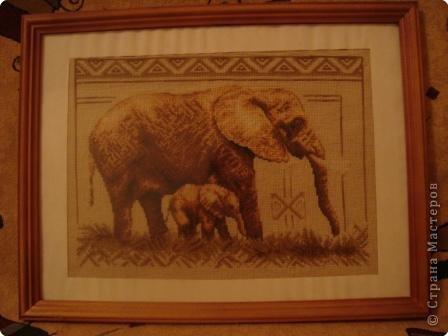 Вышивка крестом: Слониха со слоненком