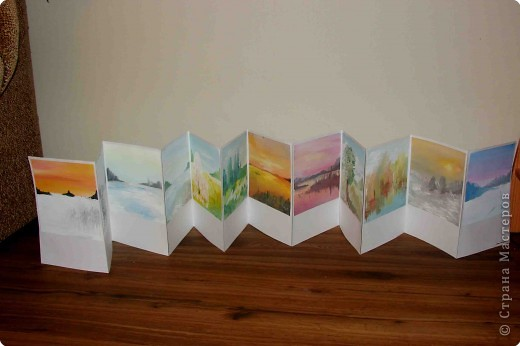 """Хочу показать одну из дочкиных работ. Работа была выполнена для школьной выставки """"Времена года"""".   Книжка-раскладушка """"12 месяцев"""".( Тогда дочке  было 15 лет) фото 1"""