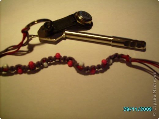 "Макраме: Брелки для ключй в технике "" Макраме"" с бусинами фото 4"