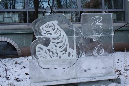 Т.к. наступающий год символизировал бык, то, конечно же, аллея со всеми двеннадцатью животными начиналась именно с него. Но выкладываю этот материал накануне следующего Нового Года - года тигра, поэтому первое место по праву занял именно он. Рисунок вырезан по плите с обратной стороны, а выемки заполнены снегом, очень похоже на обратную аппликацию. фото 1