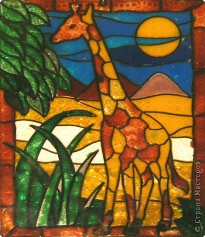 Картина панно рисунок витраж жираф