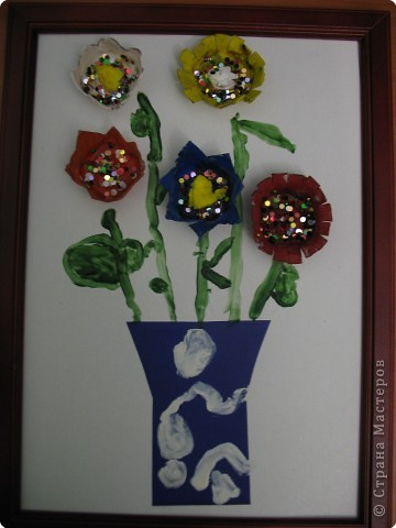Вот такие цветочки сделал мой сыночек для своей мамочки.