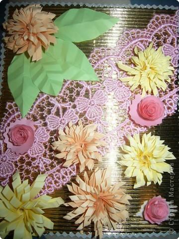 Вот такую открытку я сделала на 85 - летие бабушки мужа за 30 минут экспромтом прямо за  праздничным столом))) фото 1