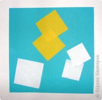 Для работы приготовьте шесть квадратов: со сторонами 15 см - 1, со сторонами 5 см - 1,  со сторонами 4 см - 2,  со сторонами 3 см - 2 фото 1