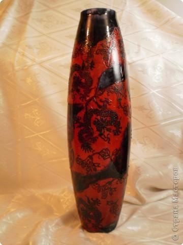 ваза в восточном стиле- декупаж и витражные краски