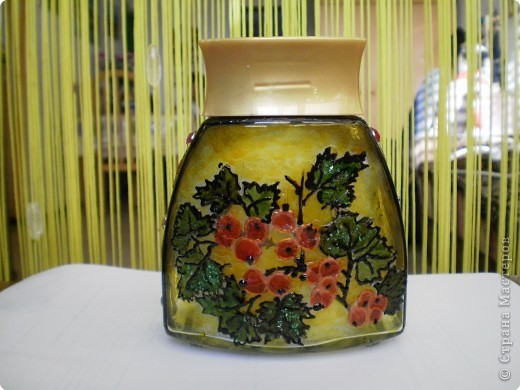 смородина- декупаж + витражная краска(боковая сторона  фото 2