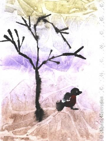 дерево и снегирь.