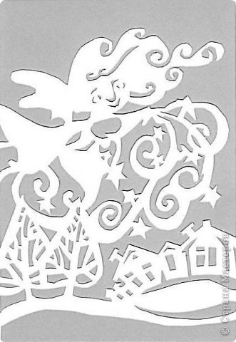 Для оформления холла использовала вырезалки на зимнюю тематику. Саму картинку выполняю на А-4 в ворде (на компьютере), делаю её серого оттенка(так меньше уходит краски), выпускаю через принтер, затем контур обвожу простым карандашом, и вырезаю, заранее определив как должна располагаться несимметричная картинка. Для зимнего фона использовала бумагу холодных тонов. фото 4