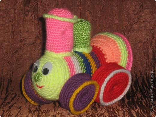 Вязание крючком: Мастер класс Паровозик Цветик-Семицветик