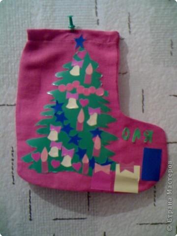 Аппликация: Рождественский сапожок фото 3