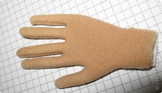берём двужильную медную проволку (нужного сечения: потолще или потоньше), делаем руку (сгибаем все пальчики), потом ножом канцелярским разрезаем сложеную проволку между двумя проподками. Вуаля, получили две ручки, совершенно одинаковые. Причём, когда разрезаем, то для удовбства можно немного разогнуть сложеные пальчики ( места сгибов никуда не денутся и потом по ним же сложим обратно кисть). \\\скрепляем свободные концы проволки на запястье. Берём кусочек проволки потоньше, делаем петлю и, как показано на картинке, прикрепляем её между пальчиками и на запястье. фото 4