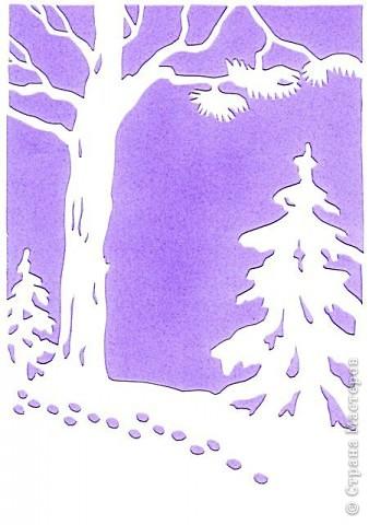 Для оформления холла использовала вырезалки на зимнюю тематику. Саму картинку выполняю на А-4 в ворде (на компьютере), делаю её серого оттенка(так меньше уходит краски), выпускаю через принтер, затем контур обвожу простым карандашом, и вырезаю, заранее определив как должна располагаться несимметричная картинка. Для зимнего фона использовала бумагу холодных тонов. фото 3