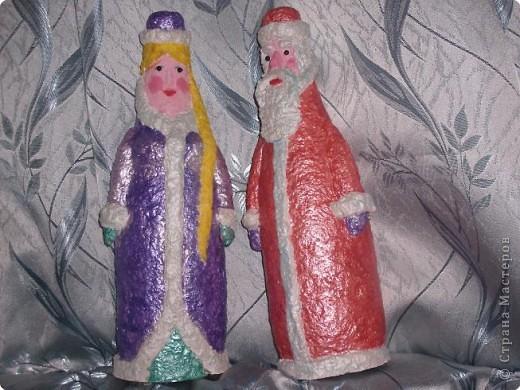 Папье-маше: Дед мороз и Снегурочка
