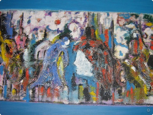 """В Италии я познакомилась с художницей Марией Вентурелли. У нее своеобразная техника рисования. хочу представить вам на обозрение некоторые картины. Эта картина называется """"Ангелы"""". На основу наклеена полиэтиленовая пленка, поверху нанесена краска фото 2"""
