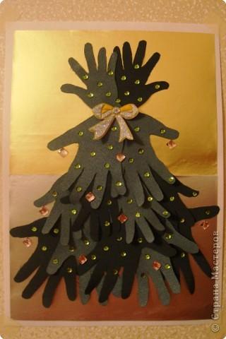 Всем здравствуйте! Мы с сынулей и дочкой присоединяемся к большой творческой компании!  А вот наши первые новогодние поделки: елка из ладошек малышей и елка, сделанная руками малышей (ну, с маминой помощью).  Вот что у нас получилось :) фото 3