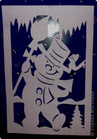 Снеговик из бумаги на окна