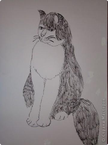 Кот. Работа сына ( ему было 8 лет)