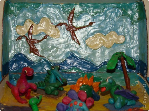 Динозаврики. Работа сына. Ему  было 6 лет. Разные виды. фото 1