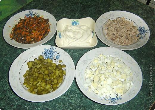 """Для приготовления салата """"тигренок"""" нам понадобится: * 3 куриных окорочка * 300 г. свежих шампиньонов * яйца - 7шт. * огурцы маринованные, (если корнишоны, то понадобится штук 15) * лук репчатый - 1 шт. * морковь - 2 шт. * зелень( укроп и петрушка) * майонез  фото 2"""
