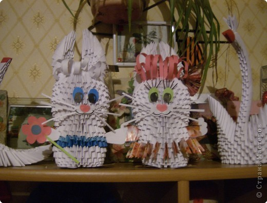 Оригами модульное: Мои зайки))