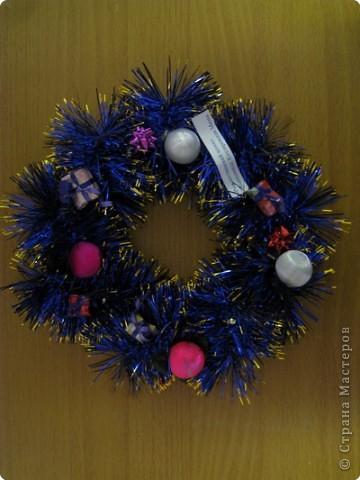 наши Рождественские венки из мишуры фото 2