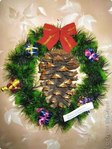наши Рождественские венки из мишуры фото 3