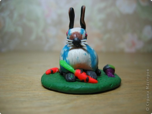 Лепка: Кролик горностаевый. (пластилин) 2Х4см. фото 2