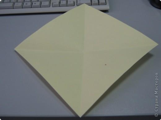 Перебирала дома запасы бумаги, смотрела, может докупить пора – нашла листик немного бракованный с точечкой какой-то. Хотела выкинуть, а потом подумала, что покажу ка я на нем как делать рождественские колокольчики. Где и когда научилась не помню, а  так может кому пригодится. Подсказали. Вот ссылка на сайт со схемой этого колокольчика  http://oriland.com/studio/diagram.asp?category=plants&model=bell&page=1&...  Автор Юрий Шумаков.  фото 2