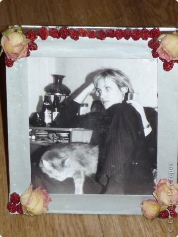 Эта рамка сделана из упаковки от CD диска, картона, ягоды рябины и засушенных роз. фото 1