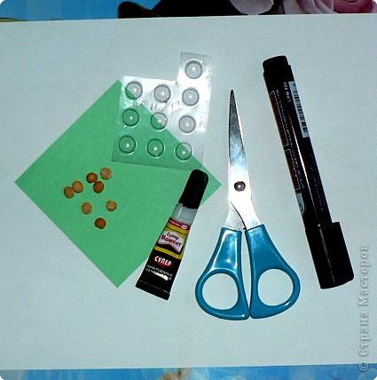 """Что потребуется: 1.Старые блистерные упаковки от таблеток (промыть-просушить, очистьить от """"фольги""""). 2. Супер-клей. 3. Половинки горошин. 4. Ножницы. 5. Кусок бумаги. 6. Маркер (или краски). фото 1"""
