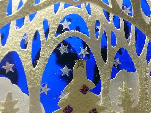 """Вот такой волшебный лес мы с 8-летним сынулей сделали за вечер. Размер работы 36*30см. Первый раз пробовали технику """"Бумажный туннель"""" Очень понравилось. Получается просто сказочный результат. На дальнем фоне используется синяя фольга, что придает особую праздничность, глубину и дополнительные тени. Для украшения - пайетки в виде перламутровых звезд и украшений для елочки. На каждый слой распылен декоративный снег, получается настоящая зима!  фото 3"""
