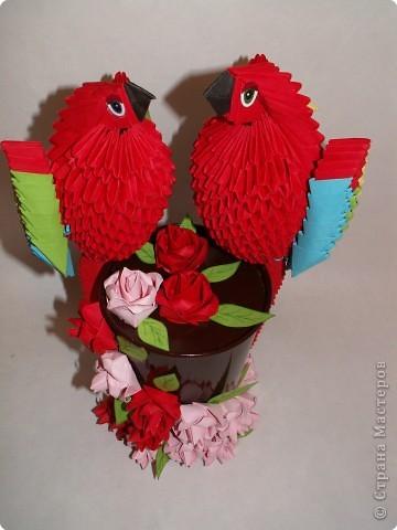"""Оригами модульное: Попугаи """"Сладкая парочка"""" фото 3"""