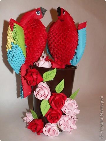 """Оригами модульное: Попугаи """"Сладкая парочка"""" фото 2"""