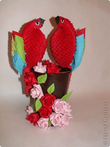 """Оригами модульное: Попугаи """"Сладкая парочка"""" фото 1"""