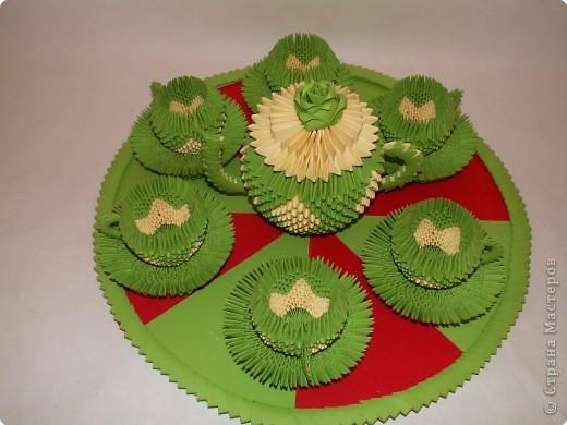 Поделка изделие Оригами китайское модульное Чайный сервиз Бумага фото 2