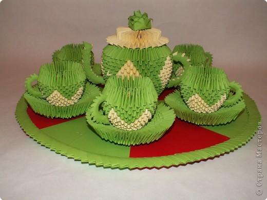 Поделка изделие Оригами китайское модульное Чайный сервиз Бумага фото 1