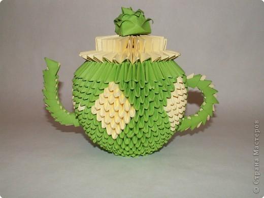 Поделка изделие Оригами китайское модульное Чайный сервиз Бумага фото 3