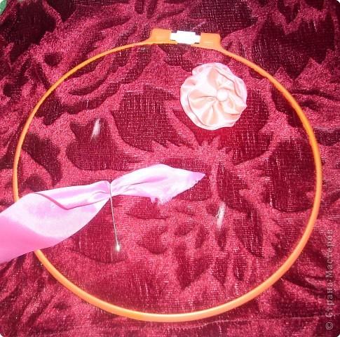 1).Ширина ленты зависит от вашего желания: какой размером желаете сделать цветок (большой, средний...) 2).Длина 25 - 35 см. 3).Подбор ткани для основы по качеству и цвету - это тоже ваше желание. На первом фото показан срезанный край ленты, чтобы удобно было вставлять в иглу. фото 2